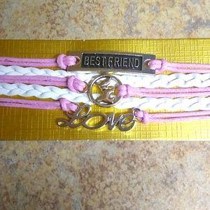 Dog Best Friend Love Pink & White Leather Bracelet